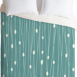 DENY Designs - DENY Designs Heather Dutton Entangled Duvet Cover - Create your sanctuary. Forty winks look fabulous beneath this duvet cover from DENY Designs. Featuring a serene line and dot motif designed by artist Heather Dutton, it was custom-created using a six-color printing technique that directly dyes the buttery-soft woven front. A cozy cotton-blend on the backside was created for cuddling. Natural woods and earth tones are perfect accompaniments. Talk about beauty rest! Pillowcases not includedAvailable in multiple sizesZip closureInterior corner tiesCustom printed for every orderWoven polyester front / cotton-polyester backMachine washableDesigned by Heather DuttonMade in the USAShips in 1 week