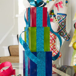 "Horchow - Stack of Presents with Bow Decoration - Exclusively ours. Your celebrations just got a little more festive. This handcrafted decoration adds to the fun with bright colors and a bit of glitter. Handcrafted of metal. Hand painted in assorted colors as shown. 5.5""Sq. x 19""T. Imported."