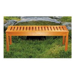 Achla - All Weather Wood Bench w Slatted Seat - Add this elegant backless bench to your yard, garden or patio for an appealing seating place for family and friends.  Perfect for the garden but also great for the patio or pool, this bench with a rich golden color will be a compliment anywhere.  It features a slat seat for excellent drainage and a sturdy design that will last.  This is a cheerful and inviting choice for any garden or patio setting.  Four-foot length is just the right size for enhancing compact spaces and it's economically priced, too! * Eucalyptus Grandis Construction. 48 W x 15 3/4 D x 17 H in.