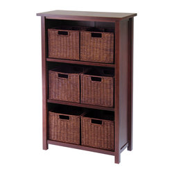 Winsomewood - Milan 7pc Cabinet/shelf With Baskets; 6 Small - Simple Design yet function and attractive storage shelf with 6 wired baskets is a perfect place to store your goodies. Perfect for every room in the house. Shelf needs assembly.
