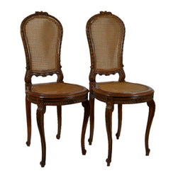 Lavish Shoestring - Consigned 2 Matching French Louis XV Style Carved Wood and Caned Hall Chairs - This is a vintage one-of-a-kind item.