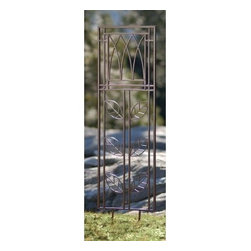 Large Leaf Garden Trellis - Hope and inspiration wrap themselves within the beautiful design of the Large Leaf Garden Trellis. Large iron leaves climb a central stem and culminate in the framed top which resembles a bunch of tulips or a monarch's crown. Use this trellis as its own garden art piece or as a support for vertical plant growth. The charcoal brown powder-coated finish suits a natural landscape while preserving the solid iron underneath. Comes with 12-inch spikes for stability.