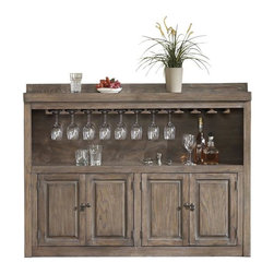 American Heritage - Martino Back Bar in Glacier - The 61 in. Martino Slim-Line Cabinet is everything you need to complete your entertainment space. Finished in a trendy Glacier stain. The Martino offers convenient storage cabinets, stemware holders, and a two-tiered shelf.. Dust with damp cloth; clean with water only. 61 in. W x 13 in. D x 46.5 in. H (139.5 lbs)