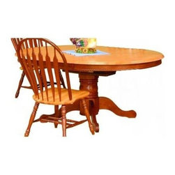 Sunset Trading - Oval Butterfly Leaf Dining Table (Light Oak) - Finish: Light OakIncludes table base and top. Chairs not included. Solid handcrafted hardwood round extension table. Self storing 18 in. L butterfly leaf converts from 48 in. Dia. round to 66 in. L x 48 in. W oval. Pedestal with adjustable feet levelers. Pictured in Nutmeg and Light Oak. Assembly required. 1-Year manufacturer's warranty. 48 in. Dia. x 30 in. H (124.16 lbs.)This beautifully designed furniture will assure you many years of use and enjoyment.