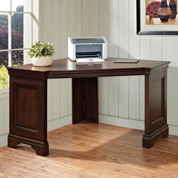 Harmony 60 in. Corner Table Desk - Delmont Cherry - The Harmony 60 in. Corner Table Desk - Delmont Cherryprovides funtional workspace designed with a space-saving corner configuration. This desk features a sleek traditional style with a beautiful cherry finish.