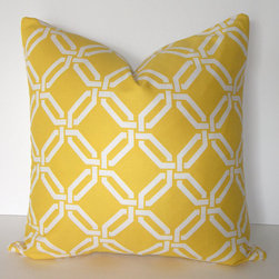 Decorative Designer Links Pillow Cover By Loubella1 - When using yellow in your home, a little certainly goes a long way. This pillow is great for adding energy and life to any space!