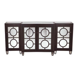 Three Piece Chocolate Mirrored Buffet - A large-scale console table like this one can really make a statement in a room. Plus, it has great storage.