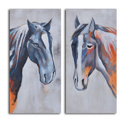 Colt and mare Hand Painted 2 Piece Canvas Set - If you love horses, this sweet pairing of mare and colt will capture your imagination. The wise look in the mare's eyes and the innocence of the colt are captured in just a few brush strokes.
