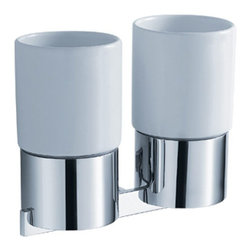 Kraus - Kraus Aura Wall-Mounted Double Ceramic Tumbler Holder - Add a touch of elegance to your bathroom with a stylish Double Ceramic Tumbler Holder from Kraus.