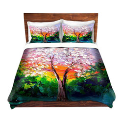 DiaNoche Designs - Duvet Cover Twill - Story of the Tree L - Lightweight and super soft brushed twill Duvet Cover sizes Twin, Queen, King.  This duvet is designed to wash upon arrival for maximum softness.   Each duvet starts by looming the fabric and cutting to the size ordered.  The Image is printed and your Duvet Cover is meticulously sewn together with ties in each corner and a concealed zip closure.  All in the USA!!  Poly top with a Cotton Poly underside.  Dye Sublimation printing permanently adheres the ink to the material for long life and durability. Printed top, cream colored bottom, Machine Washable, Product may vary slightly from image.