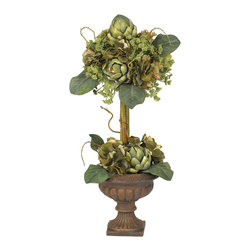 Nearly Natural - Artichoke Topiary Silk Flower Arrangement - One of our more unique products is this stunning Artichoke Topiary. Standing a full two feet in height, this plant sports two impressive blooms - one at the base, and another rising high above. Made of the finest materials, the intricate detail that only the Artichoke can bring is readily apparent, with a bevy of leaves, stems, and soft blooms all around. The sturdy decorative planter only adds to the timeless appeal of this thoroughly unique plant.