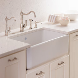 "ROHL Shaws Classic Modern Apron Front Single Bowl Fireclay Kitchen Sink - ROHL was the first company to market the Original Farmhouse Apron Sink design in North America over a decade ago. As the originator of the fireclay sink, Shaws Sinks epitomize modern day craftsmanship, melding century old traditions and techniques with design innovation. This 30"" undermount design offers a modern interpretation of the original apron front design. Also available in a Biscuit finish."