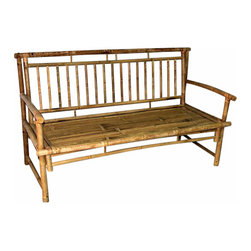 "Master Garden Products - Standard Slat Back Bamboo Bench, 54""L x 21""W x 36""H - We use natural iron bamboo, also known as Tam Vong bamboo, which are straight and relatively thick walled to make these incredibly strong benches. Our benches are designed to be shipped knock down to save you money on shipping. Finished with natural bamboo oil for extra protection. Back bench support is 54""L x 21""W x 36""H."