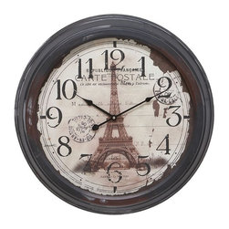 Benzara - Metal Wall Clock with Picture Of Eiffel Tower - Metal Wall Clock is an excellent anytime low priced wall decor upgrade option that is high in modern age decor fashion. The picture of Eiffel tower on the dial base and some seals proving its age make it different than other options