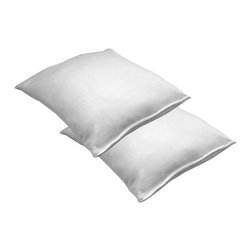 Remedy - Memory Foam Comfort Touch Pillow - Set of 2 - Memory foam outer layer. Memory foam cluster fill. Hypo allergenic. 14.375 in. L x 17.5 in. W x 4.5 in. H (7 lbs.)A high density, slow recovery, temperature sensitive memory foam developed for NASA provides exceptional, contouring support. Plus, this amazing material responds to your body heat and conforms to you, relieving pressure areas and improving comfort. Memory Foam clusters are made with the same viscoelastic foam used by NASA. Our unique process utilizes micro clusters to create a luxury pillow that is in balance with the way you sleep. Allergy sufferers love our memory foam bed pillows because they're naturally hypo-allergenic. This pillow fits a standard size pillowcase.