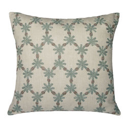 Kevin O'Brien Studio - Ditsy Flower Linen Pillow, Powder Blue - These gentle structured flowers create a lacey pattern; Made in India and designed by us in our Philadelphia studio; design on front only; zip closure; comes with a feather/down insert ;zip closure; comes with a feather/down insert