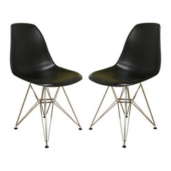 Black plastic side chair with wire base (set of 2)