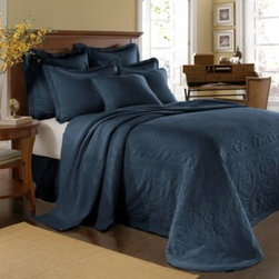 Historic Charleston Collection - King Charles Matelasse Bedspread in Provincial Blue - Steeped in Historic Charleston's rich, classic style and decorative arts culture, the King Charles 100% cotton matelasse bedding collection offers the ultimate blend of European, Caribbean, and Asian influences.