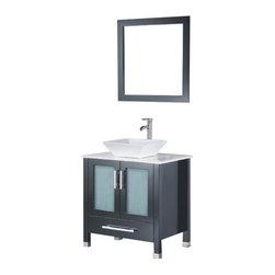 Adornus - Adornus ADRIAN-30-E-Q Espresso Vanity - All Wood Vanity with White Glass top and Glass Vessel.