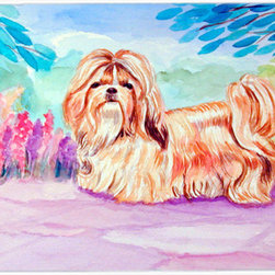 Caroline's Treasures - Shih Tzu Kitchen or Bath Mat 24x36 - Kitchen or Bath COMFORT FLOOR MAT This mat is 24 inch by 36 inch.  Comfort Mat / Carpet / Rug that is Made and Printed in the USA. A foam cushion is attached to the bottom of the mat for comfort when standing. The mat has been permenantly dyed for moderate traffic. Durable and fade resistant. The back of the mat is rubber backed to keep the mat from slipping on a smooth floor. Use pressure and water from garden hose or power washer to clean the mat.  Vacuuming only with the hard wood floor setting, as to not pull up the knap of the felt.   Avoid soap or cleaner that produces suds when cleaning.  It will be difficult to get the suds out of the mat.