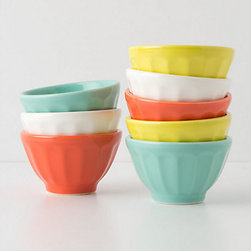 Anthropologie - Mini Latte Bowls, Multi, Set of 8 - Mini colorful latte bowls are great for keeping your ingredients measured and organized while you cook.