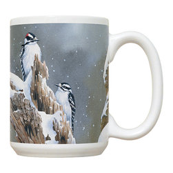 680-Downy Woodpecker Mug - 15 oz. Ceramic Mug. Dishwasher and microwave safe It has a large handle that's easy to hold.  Makes a great gift!