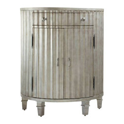 Hooker Furniture - Fluted Demi Chest - If you like the idea of mixing it up a bit, this fluted chest could have your name on it. The unusual concave shape, silver finish with brushed brown tones and silver-toned hardware would give a surprising look to an entry, bedroom or powder room.