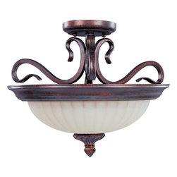 Joshua Marshal - Two Light Greek Bronze Soft Vanilla Glass Bowl Semi-Flush Mount - Two Light Greek Bronze Soft Vanilla Glass Bowl Semi-Flush Mount