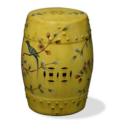 China Furniture and Arts - Porcelain Garden Stool - With simple silhouette, this porcelain garden stool is modeled after the traditional Chinese drum. The center design takes its shape from an ancient coin. Hand-glazed in vibrant yellow and hand-painted with delicate birds scenery. Great for indoor and outdoor use and easily complements any setting.
