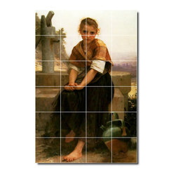 Picture-Tiles, LLC - The Broken Pitcher Tile Mural By William Bouguereau - * MURAL SIZE: 72x48 inch tile mural using (24) 12x12 ceramic tiles-satin finish.