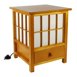 Oriental Furniture - Hokkaido Honey Accent Lamp - This Hokkaido Lamp includes a convenient storage drawer. Handcrafted by artisans in Guangdong, mainland China.  Made from Scandinavian Spruce wood and tough, pressed pulp rice paper.  Oriental Furniture - LMP-HOKK3-HONEY