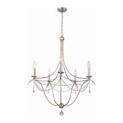 "5 Light 28"" Antique Silver Chandelier with Clear Glass Beads and Murano Crystal - The sleep antique silver metal on this chandelier adds a richness and elegance in any room of your home."