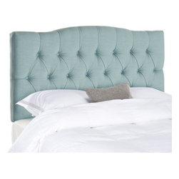 Safavieh - Axel Full Tufted Headboard - Sky Blue - Dress up a guest room or master suite with the deeply tufted Axel full/queen headboard. With posh button-tufted upholstery in soft sky blue, this comfortably padded, gently curved headboard evokes images of 1930s Hollywood glam. Attaches to any standard size metal frame bed.