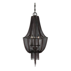 Uttermost - Uttermost Lezzeno 3 Light Chandelier - 3 Light Chandelier belongs to All Uttermost Designer Collection by Uttermost Draped Jewelry Chain Finished In A Dark Oil Rubbed Bronze With Gold High Lights. Chandelier (1)