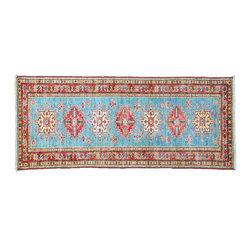 1800GetARug - Fine Kazak Sky Blue Runner Hand Knotted Rug Sh11138 - About Tribal & Geometric