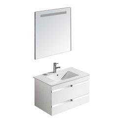 VIGO Industries - VIGO 32-inch Ethereal-Petit Single Bathroom Vanity with Mirror - The VIGO Ethereal-Petit is a wall mounted white gloss contemporary style vanity.