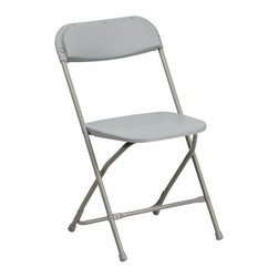 "Flash Furniture - HERCULES Series 440 lb. Capacity Premium Gray Plastic Folding Chair - Plastic folding chairs are the choice of many event planners for their lightweight design, ease of cleaning, and versatility among events. This portable folding chair can be used for Banquets, Parties, Graduations, Sporting Events, School Functions and in the Classroom. This chair will be the perfect addition in the home when in need of extra seating to accommodate guests. Constructed of lightweight textured polypropylene and a strong steel frame, these folding chairs will suit most any occasion. Gray Plastic Folding Chair; 440 lb. Weight Capacity; Lightweight for Easy Handling; Gray Plastic Seat and Back; Contoured Back and Seat; Open Back Design; Textured Polypropylene Seat and Back; Drain Holes in Seat assist in drying for All-Weather Use; Double Support Rails; 18-Gauge Steel Frame; Gray Powder Coated Frame Finish; Non-Marring Floor Caps; Easily Nests For Stacking; Folded Dimensions: 17.5""W x 1.75""D x 37.75""H; Designed for Indoor and Outdoor Use; Overall dimensions: 17.5""W x 20""D x 31.25""H"