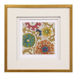 John Richard - John Richard Suzani Song II GRF-5078B - A suzani is a brightly colored embroidered and decorative textile from Central Asia. The square is mounted on a beveled edge panel. It is double matted with the inner mat being fluted and hand-painted.