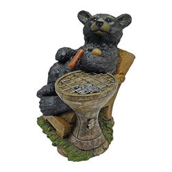"""EttansPalace - Black Grizzly Bear Statue Sculpture - This is the way men and bears are meant to cook: Out in the fresh air, with a mouth-watering hot dog in one hand and your paws up resting on your favorite lawn chair while minding the grill. Our BBQ bear figurine, drawing on a rich heritage of charcoal kettle grilling, is expertly sculpted, from his round, bear cub eyes to his delightfully oversized hotdog-munching paws. This grillin' chef bear sculpture is cast in quality designer resin and hand-painted to show off every realistic detail. Another quality garden statue! 9.5""""W x 9.5""""D x 11.5""""H. 2 lbs."""