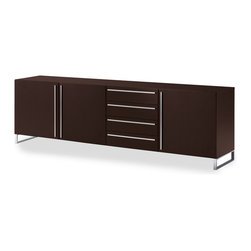 DomItalia Furniture - Life-3C Sideboard in Wenge - This contemporary wenge sideboard is accented with cool steel hardware and provides a storage space for table linens, utensils, various serving ware or may be media collections. This sideboard can be placed as in the dining room and in the entertainment space. The scratch resistant, rubber-capped feet protect your flooring from damage.