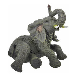 Detailed Lounging Baby Elephant Indoor/Outdoor Statue - This lounging baby elephant statue adds a lovely accent in your home or outside in your garden or flower bed. Made of cold cast resin, it measures 9 inches tall, 10 inches long, and 7 1/2 inches wide. This piece is wonderfully detailed, from the texture of the elephant`s skin to its glossy eyes. The statue also has foam pads on the bottom to prevent it from scratching delicate surfaces. Elephant statues with raised trunks are believed to be lucky; this statue would make a great housewarming gift for a friend.