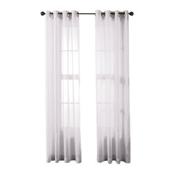 """HLC.ME - HLC.ME 2 Piece Sheer Window Curtain Grommet Panels, White - Sheer Curtain Grommet Panels will liven up your indoor or outdoor spaces with a sense of airiness and beauty. Made from solid color polyester voile. Our luxurious sheer grommet panels gives your home a new elegant look. Allows natural light to flow through the room. Each panel is 54"""" in Width and 84"""" in Length. For a full look use 2 panels to cover a standard size window. This picture shows two sheer grommet panels  this package contains two (2) Sheer Grommet Panels."""