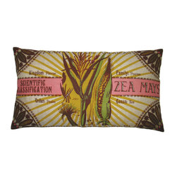 "KOKO - Botanica Pillow, Zea Mays Print, 15"" x 27"" - Vintage botanical prints are coming back in style big time. The retro vibe of this print would be a playful way to break up a cluster of sofa pillows."