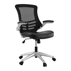 LexMod - Attainment Office Chair with Black Mesh Back and Leatherette Seat - Taking you where you need when you need it most. The Attainment Office Chair is a form-fitting ergonomic chair made from the most revolutionary advances in seating today. The breathable mesh back is curved to assist back and shoulder posture, while the lower frame provides exemplary lumbar support. With flip up arms, and a waterfall padded leatherette seat, enjoy your work from a place of comprehensive comfort.