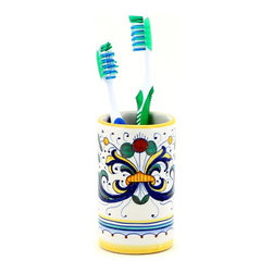 Artistica - Hand Made in Italy - Ricco Deruta: Toothbrush Tumbler - Ricco Deruta: Artistica's Ricco Deruta is the true original version of the most celebrated Deruta's design, which traces its origins to the sixteenth century.
