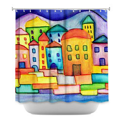 DiaNoche Designs - Shower Curtain - Dora Ficher Colorful Place - DiaNoche Designs works with artists from around the world to bring unique, artistic products to decorate all aspects of your home.  Our designer Shower Curtains will be the talk of every guest to visit your bathroom!  Our Shower Curtains have Sewn reinforced holes for curtain rings, Shower Curtain Rings Not Included.  Dye Sublimation printing adheres the ink to the material for long life and durability. Machine Wash upon arrival for maximum softness. Made in USA.  Shower Curtain Rings Not Included.