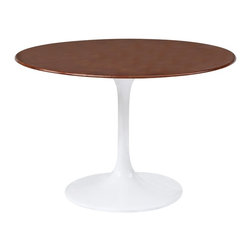 """Lemoderno - Fine Mod Imports  Flower Table Wood Top 30"""", Walnut - The Flower table has a wood top, Its base is a heavy molded cast aluminum, while the shell is in reinforced molded fiberglass base. Material: White lacquered light gloss finish Wood Table Top   Assembly Required"""
