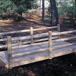 "Log Rail Bridge - All bridges are constructed with three 2"" x 8"" pressure treated stringers, natural Atlantic White Cedar decking and cedar railings. Arched bridges measure 48"" inside of posts, the 10' length has 2 end posts, the 12' and 14' have 2 end posts and 2 in-line posts. Flat bridges measure 60"" inside of posts, the 10' length has 2 end post, the 12' and 14' have 2 end posts and 1 in-line post.  Motor freight."