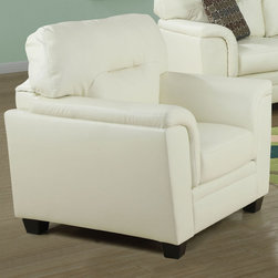 Monarch - Ivory Bonded Leather Chair - This contemporary ivory bonded leather chair will give your room a sophisticated style, offering enough space for you to relax. The detailed stitching and deep cushioned seat will keep you cozy while the extra padded arms add the perfect finishing touch for your absolute comfort. This can be paired nicely with the sofa and love seat.