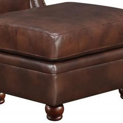 """At Home Designs - Monterey Ottoman in Natural Brown - With rich, deep brown hues and a supple, textured feel the Monterey is an alluring family room set with styling that easily crosses over to the living room. French welt accents and elongated stitching down the back cushions add aesthetic appeal while the decorative rolled-arms with brass-toned nail head trim wrap you in comfort. Our signature hard wood construction with pocketed coil seating provides a supportive and comfortable sit. Finished with 100% Top Grain leather, hand-turned wood legs, removable back cushions and brass-toned nail head trim the Monterey 4 piece set will breathe warmth and luxury into your home.; 100 % Top Grain leather G�� deep Plantation brown G�� on all seating surfaces; French welt accents; Sturdy hardwood/plywood construction with sturdy joints and corner blocks; Hand-turned, all wood legs; Brass-toned nail head trim; Dimensions:19""""H x 26""""W x 22"""